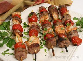 Shrimp and Andouille Kabobs with Roasted Tomatoes Recipe