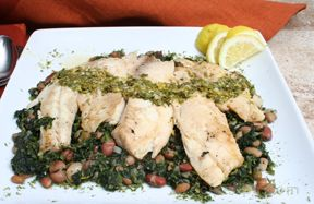 Tilapia with Spinach and Lemon Vinaigrette