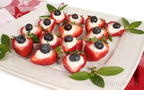 red white and blue strawberry appetizer Recipe