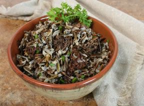 Morels in Wild Rice and Chives