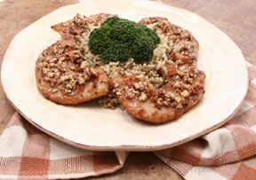Pork Cutlets with Honey Glazed Pecans