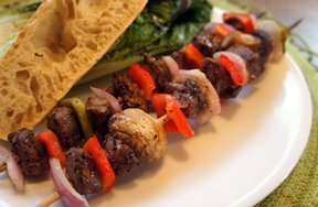 grilled beef and vegetable kebabs Recipe