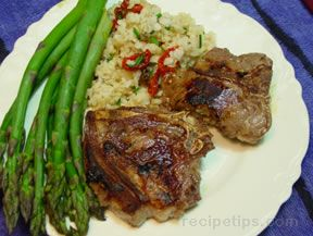 Lamb Chops Stuffed with Almonds Lemon and Garlic