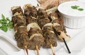greek beef kebabs with yogurt-mint sauce Recipe
