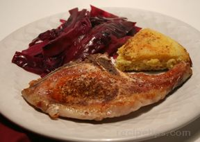 Pork Chops with Braised Red Cabbage Recipe