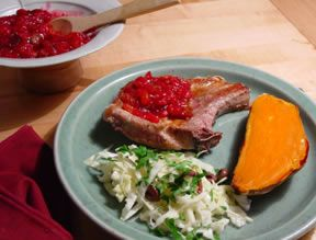Pork Chops with Cranberry Salsa