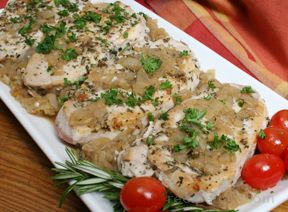 Pork Chops with Apricot Onion Topping Recipe