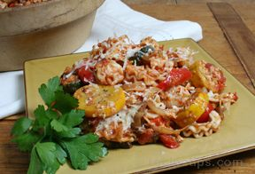 baked pasta with roasted vegetables Recipe