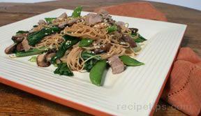 choy sum pork and noodles Recipe