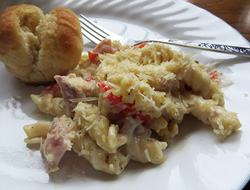 ham and rotini alfredo Recipe