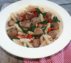 penne with italian sausage and greens Recipe