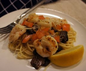 shrimp pasta with mushrooms and tomatoes Recipe