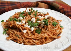 Spaghetti with Sun Dried Tomato Feta Sauce
