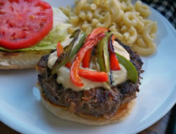 California Burger with Grilled Peppers Recipe