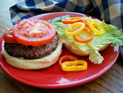 Grilled Burgers with Sweet Peppers