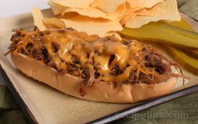 Shredded Beef  and Cheddar Sandwich