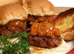 pork burgers with roasted onion relish Recipe
