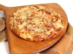 Potato Pizza with Pepperoni and Cheese