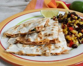 Light Chicken Quesadillas with Bean and Corn Salad