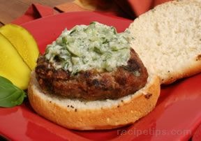 Turkey Burgers with Creamy Cucumber Relish Recipe