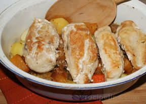 Chicken Braised in Cider with Root Vegetables
