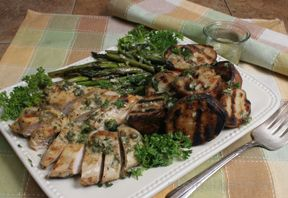 Grilled Chicken and Vegetables with Lemon Dijon Sauce