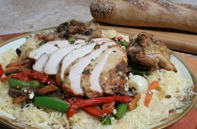 Grilled Chicken with Sautéed Vegetables over Pasta