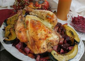 Roasted Chicken with Orange Sage Sauce