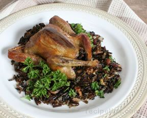 Roasted Squab Stuffed with Wild Rice