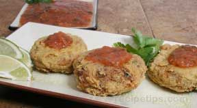 Turkey Cakes with Spicy Roasted Tomato Salsa