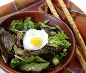Spring Greens with Quail Eggs