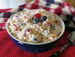 Red White and Blue Fruit Pasta Salad