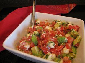 Tomato Avocado and Fresh Mozzarella Salad