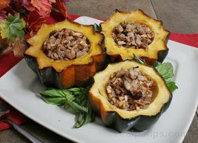 Roasted Acorn Squash with Barley and Apple Stuffing