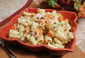 Rigatoni with Sweet Potatoes Oregano and Parmesan