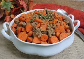 Saut#233ed Carrots with Sausage Recipe