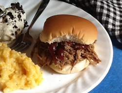 Slow Cooker Pork and Beef Sandwiches
