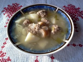 Soup with Meatballs Mushrooms Spaghetti and Cheese