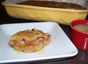 cranberry cake with butter sauce Recipe