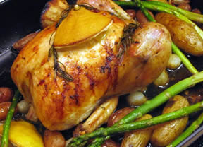 lemon and rosemary roast chicken with country vegetables Recipe