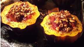 acorn squash with fig and nectarine compote Recipe