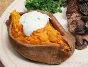 Baked Sweet Potatoes with Honey Jalapeno Sour Cream