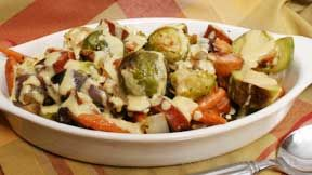 Roasted Brussels Sprouts with Creamy Dijon Sauce