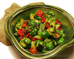 Sauteéd Brussels Sprouts with Sun-Dried Tomatoes and Olives