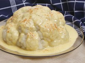 Cauliflower Topped with Cheese Sauce