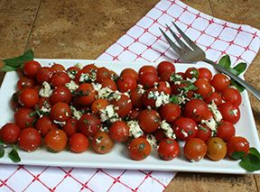 Cherry Tomatoes with Gorgonzola and Basil