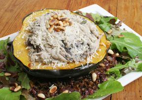 Stuffed Acorn Squash with Wild Rice and Mushrooms