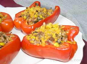 Stuffed Red Peppers with Salsa