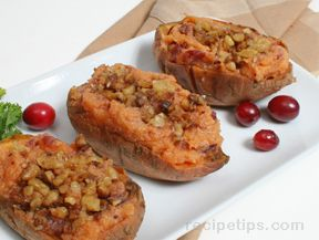 Twice Baked Sweet Potatoes with Cranberries