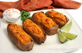 Twice Baked Sweet Potatoes with Chipotle Chile